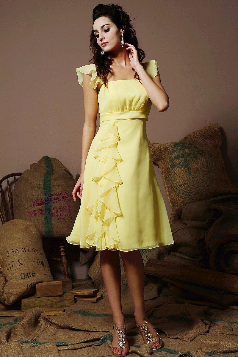 Aline kneelength chiffon bridesmaid dress with cap sleeves