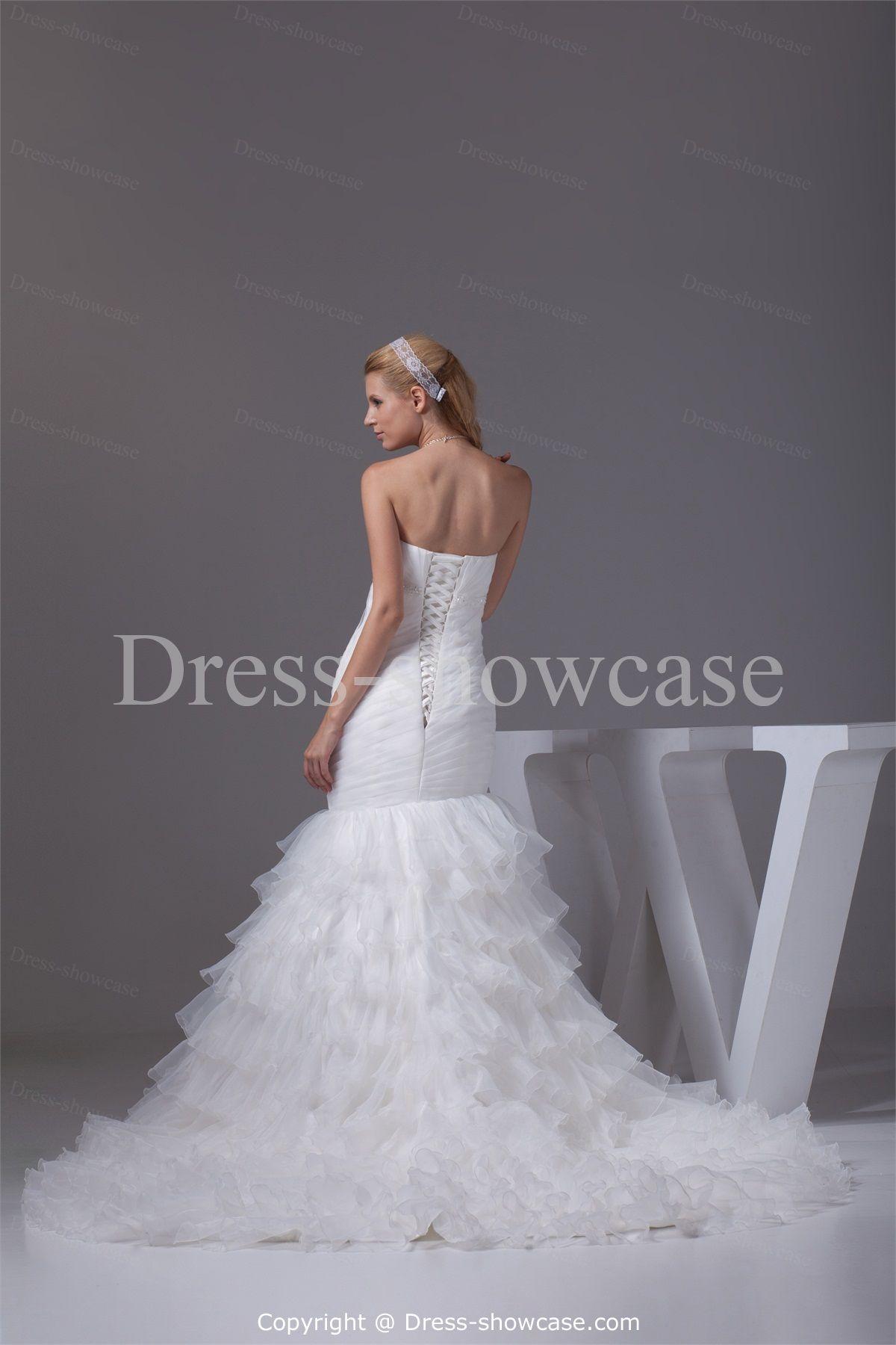 Sleeveless Beautiful Satin Corset-back Wedding Dress