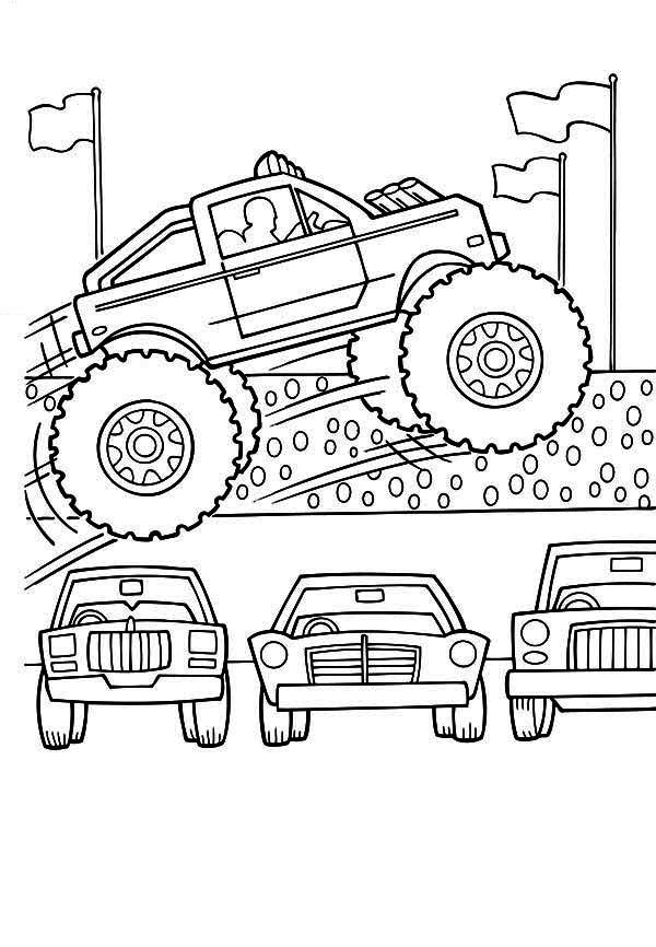 Monster Truck Monster Truck Jumps Over Cars Coloring Page With