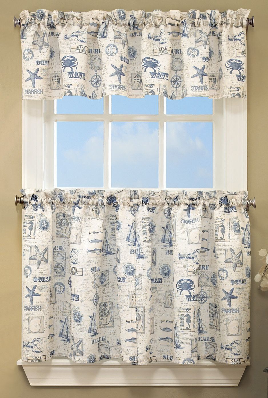 By The Sea Printed Ocean Beach Kitchen Curtain Valance With