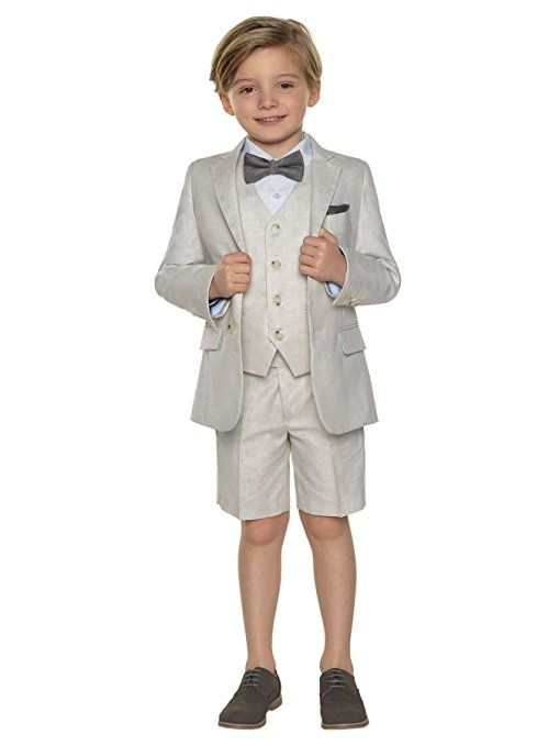 Paisley of London, Boys suit, Boys grey linen suit with shorts ...