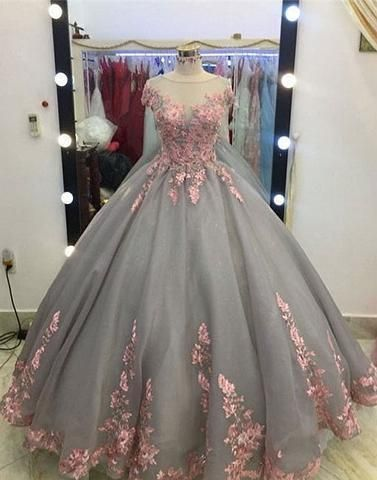 ff1a386fb0f1 short sleeves A-line gray tulle flower appliques long prom dress, PD2577