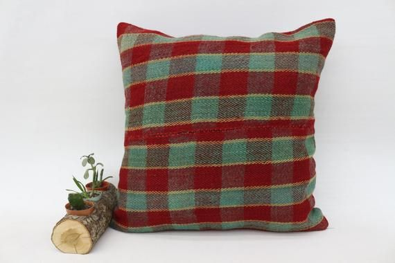 Large Pillow, Striped Pillow, Decorative Pillow,Pillow Cover, Red Pillow,Kilim Pillow 20x20 Large Pi