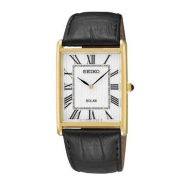 seiko® mens black leather strap solar watch sup880 solar seiko® mens black leather strap solar watch sup880