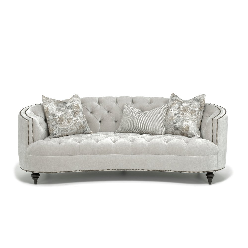 Bernhardt Madeline Gray Tufted Leather Sofa