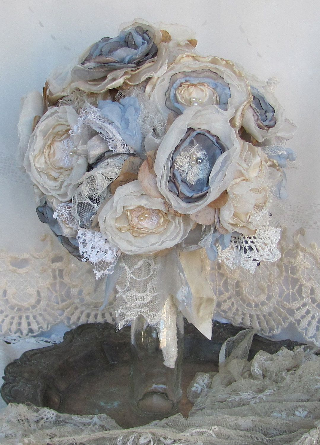 Bridal Fabric Flower Bouquet Custom Order Any Color 15000 Via