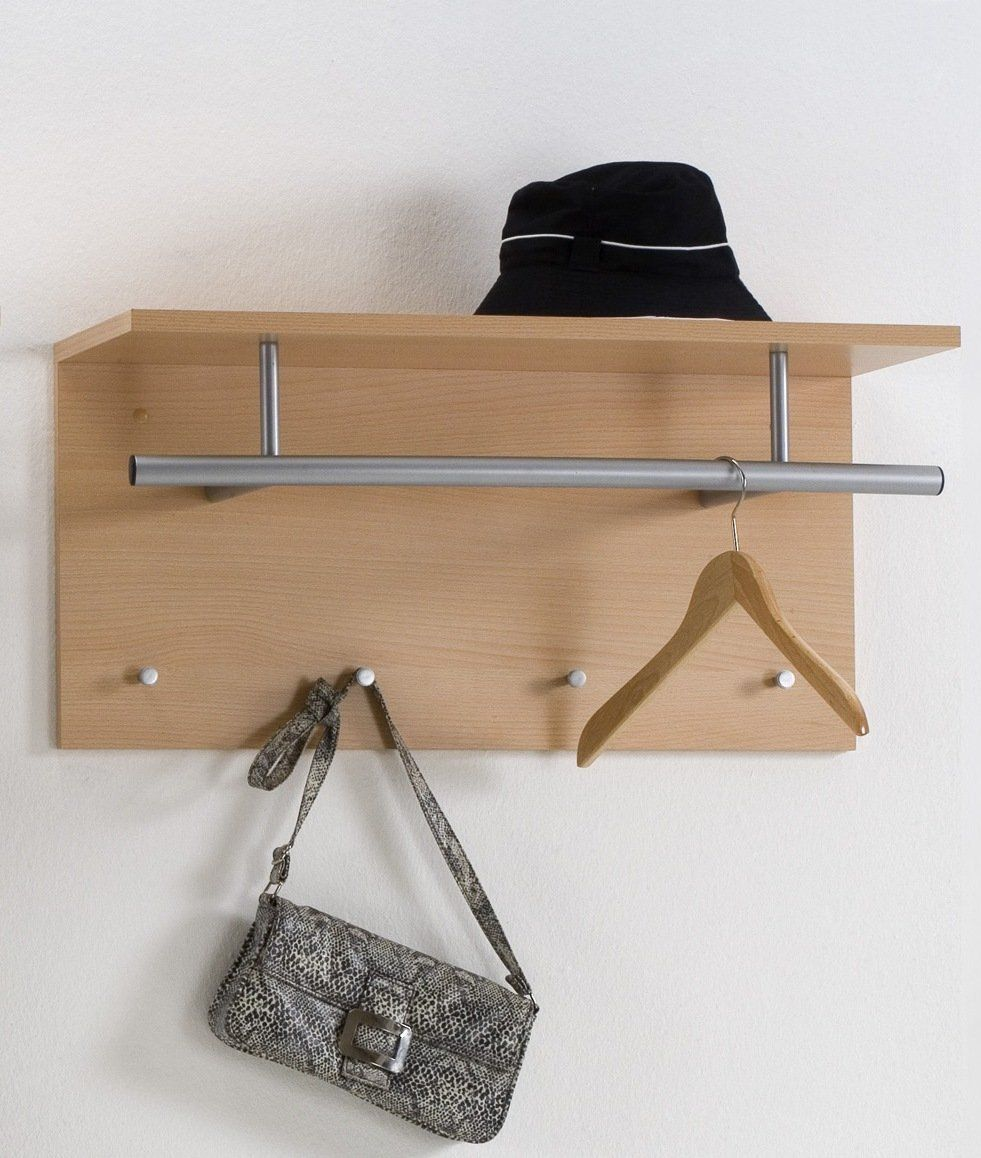TIDY Wall Mounted Coat Hooks Rack Stand With Coat Rail U0026 Storage Shelf In  Beech Colour