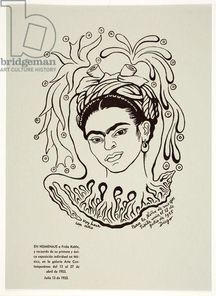 Untitled (Portrait of Frida Kahlo), 1955 (litho)