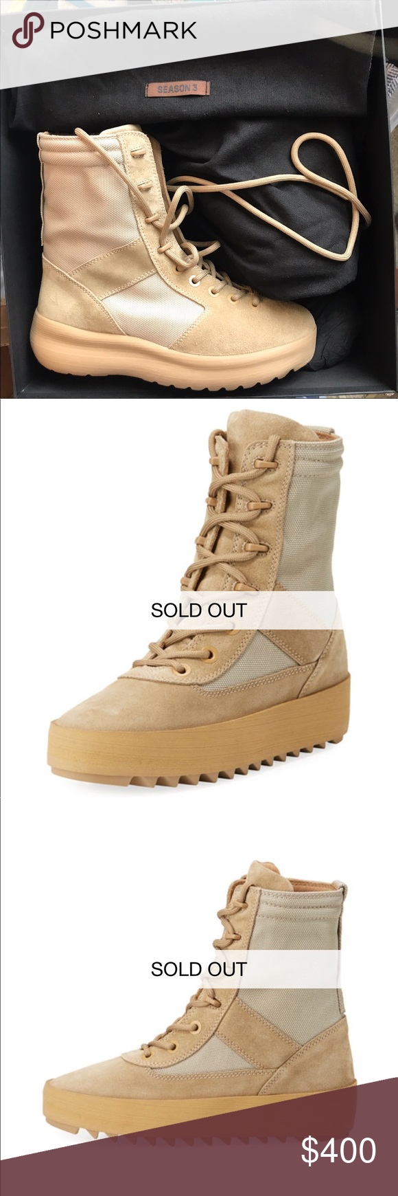6a29b5916f5 YEEZY SUEDE PLATFORM DESERT BOOTS Never worn. Flawless condition. Women s  size 10 Men s size 8.5 Yeezy Shoes Lace Up Boots