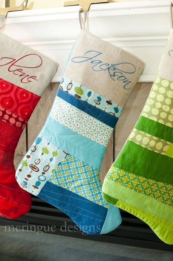 Personalized Patchwork Christmas Stocking in Bright Cottons, Personalized Patchwork Christmas Stocking in Bright Cottons,
