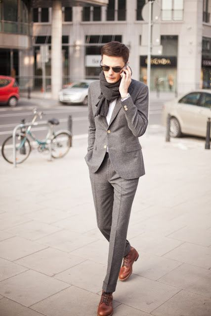 slim fit gray flannel suit