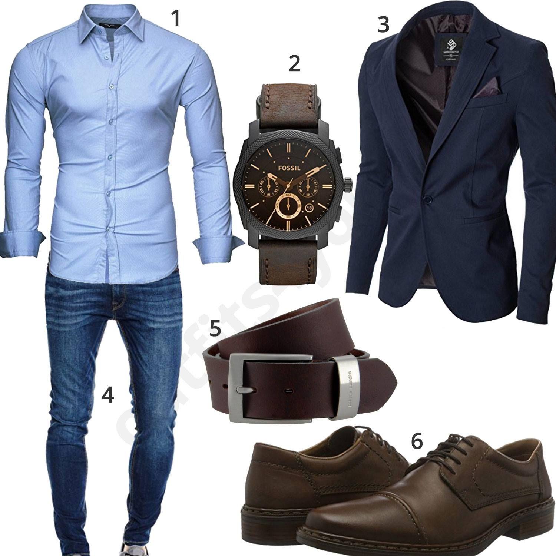 cooles business outfit mit blauem sakko m0440 sneaker. Black Bedroom Furniture Sets. Home Design Ideas