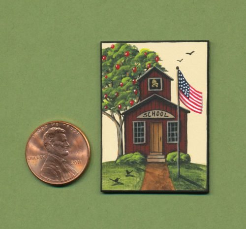 "KARRY JOHNSON IGMA Artisan ""LITTLE RED SCHOOLHOUSE"" Tiny Miniature Painting"