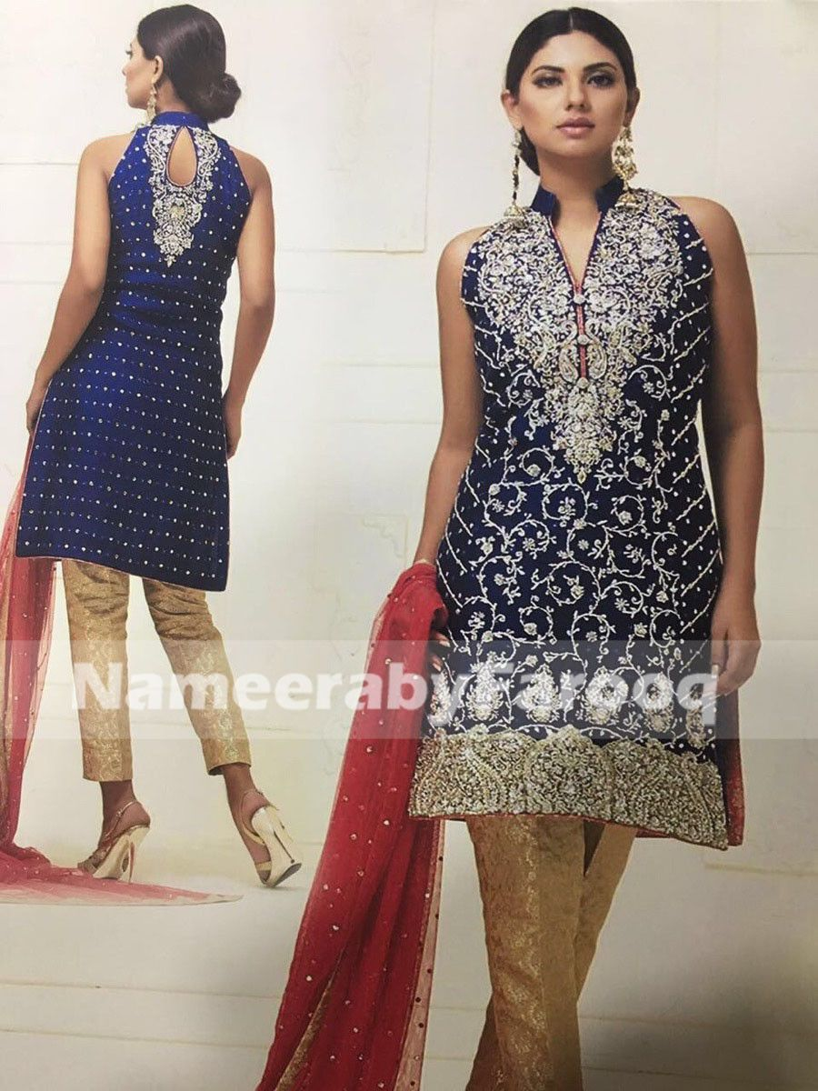 Wedding party dress dark blue with silver dabka u nugh work in