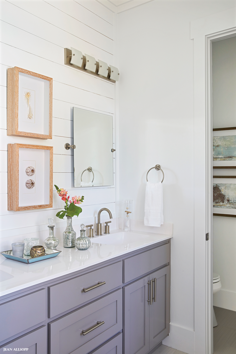 Coastal Bathroom Vanity In 2020 Grey Bathroom Vanity Shiplap Feature Wall White Counters