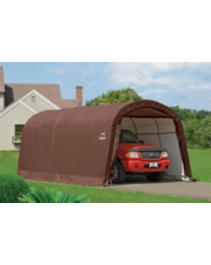 Shelter Logic Round Style Brown Fabric Garage, 12 x 20-ft ...