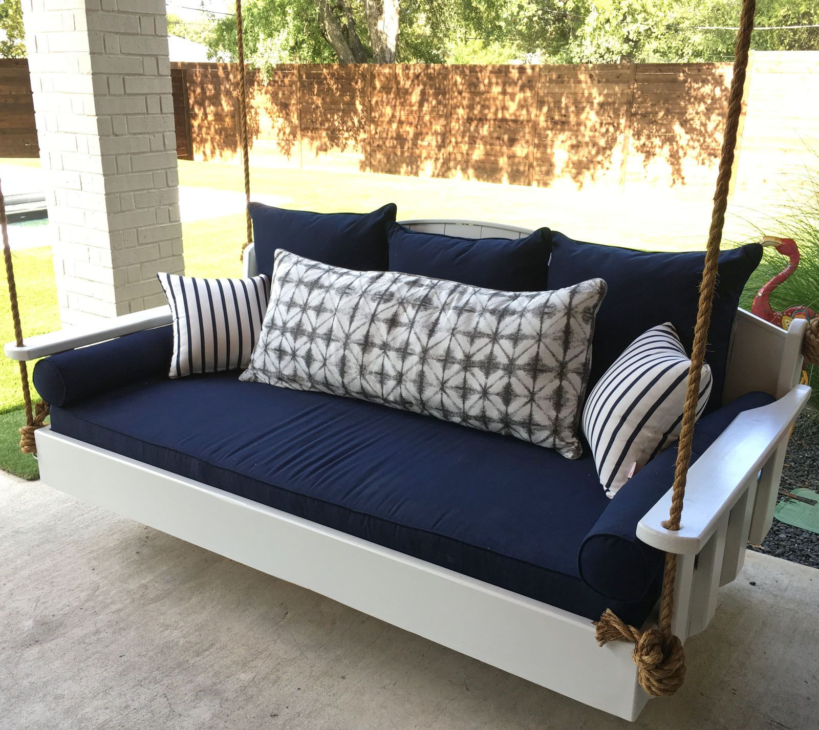 Sunbrella Cushion And Pillows Make Daybed Swing A Cozy Resting Spot Porch Swing Cushions Outdoor Daybed Cushion Outdoor Daybed