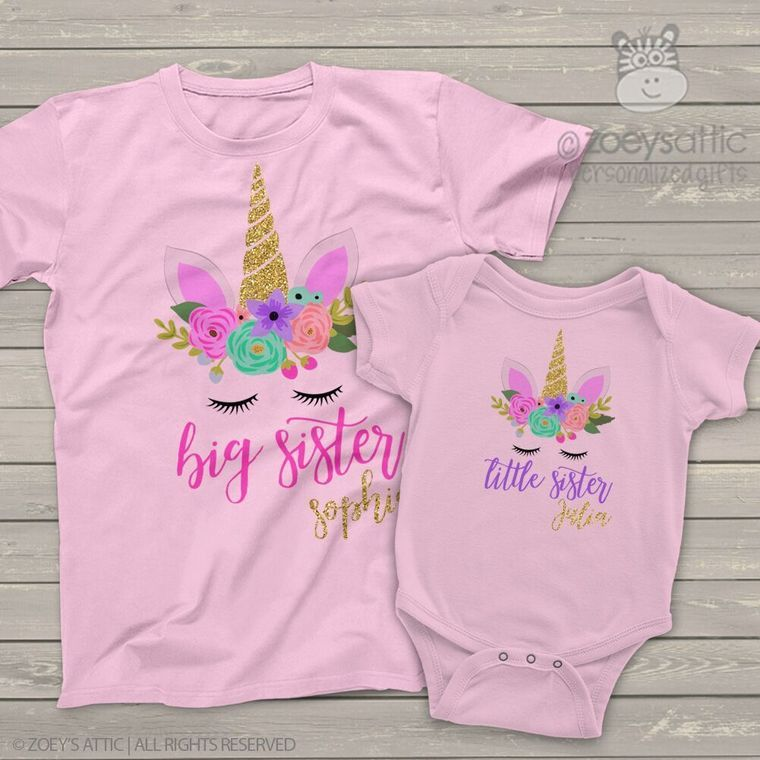 Personalized Custom LITTLE SISTER or BIG SISTER Butterfly Butterflies T Shirt