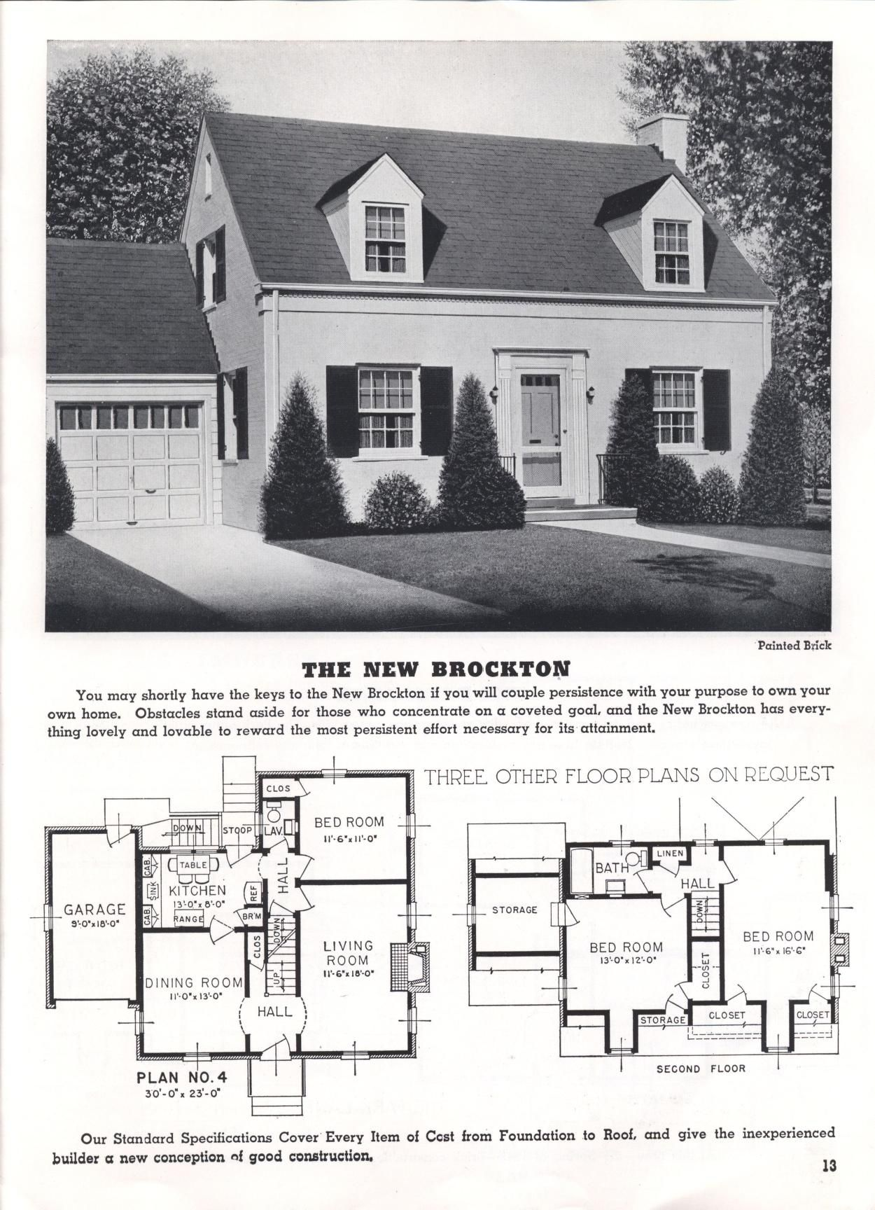 Homes Of Today And Tomorrow B 48 Standard Homes Co Free Download Borrow And Streaming Internet Archive Vintage House Plans Dream House Plans Cape Cod House Plans