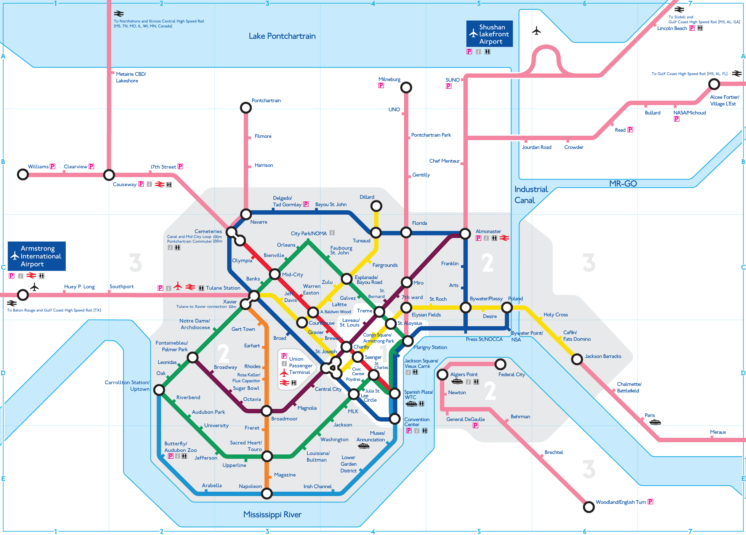 New Orleans Metro Map Wouldn't it be nice. New Orleans public transit idea | Favorite