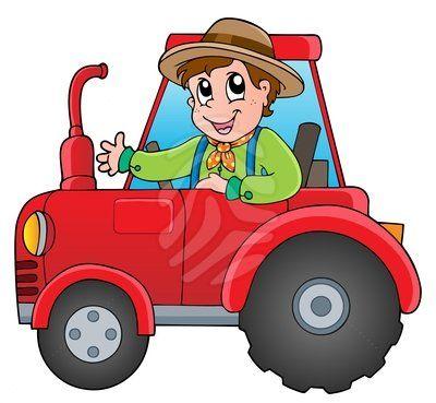 Cartoon Farmer On Tractor Animales En Foamy Tractor Dibujo Dibujos Para Niños