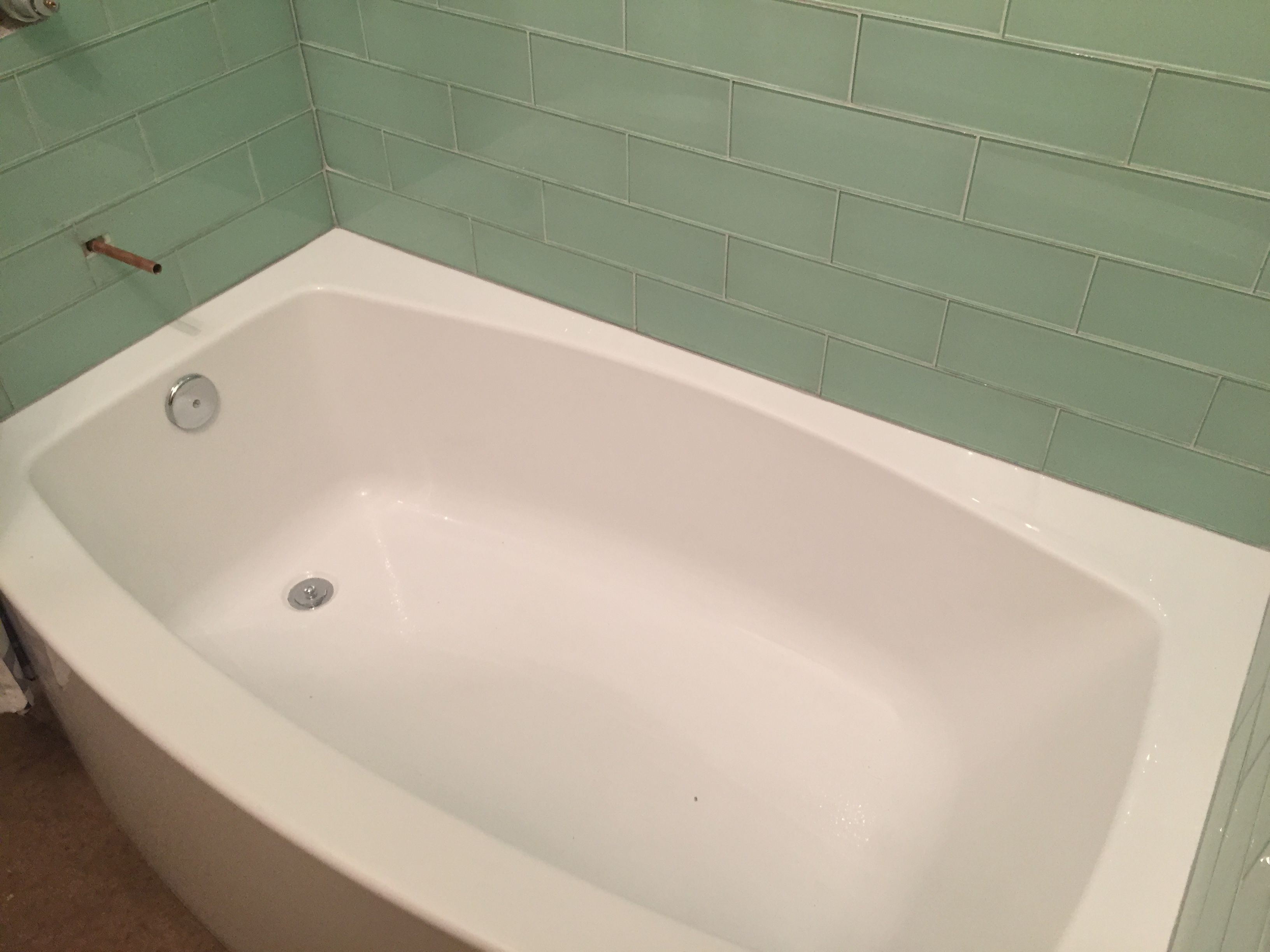 Sea glass subway tile (surf from modwalls) with pale grey grout ...