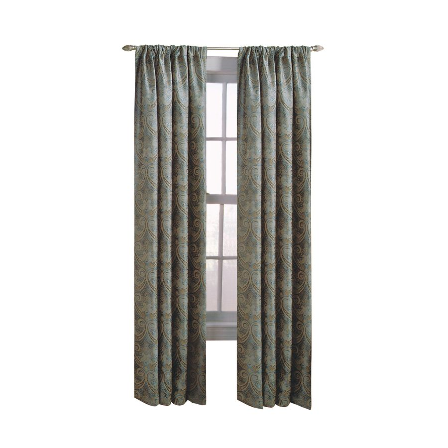 Allen + Roth Raja 95 In Steel Polyester Back Tab Light Filtering Standard  Lined Single Curtain Panel 1623333