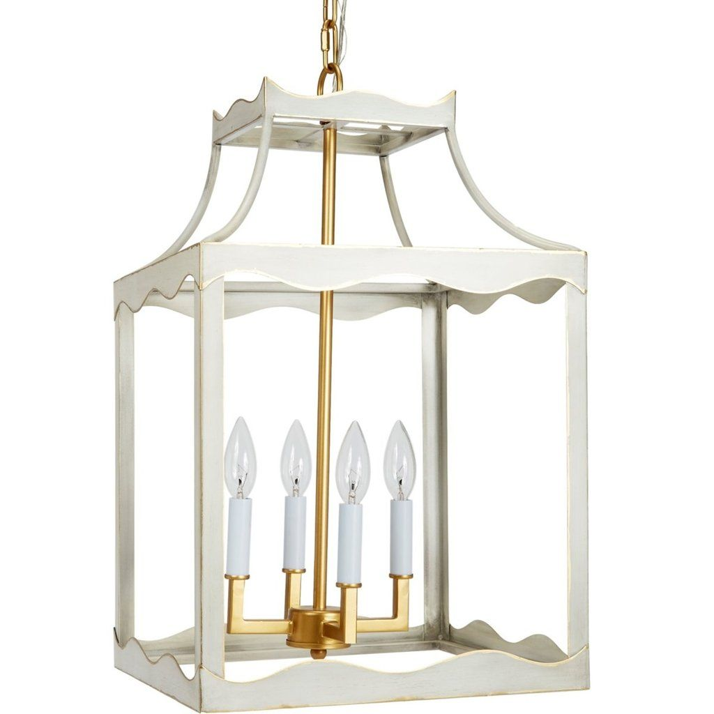 Miriam Cream And Gold Metal Lantern In