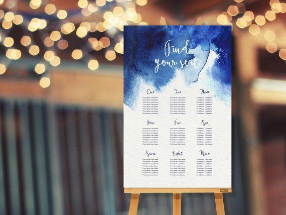 Blue Watercolour Wedding Seating Chart // Table Plan // DIY Wedding ...