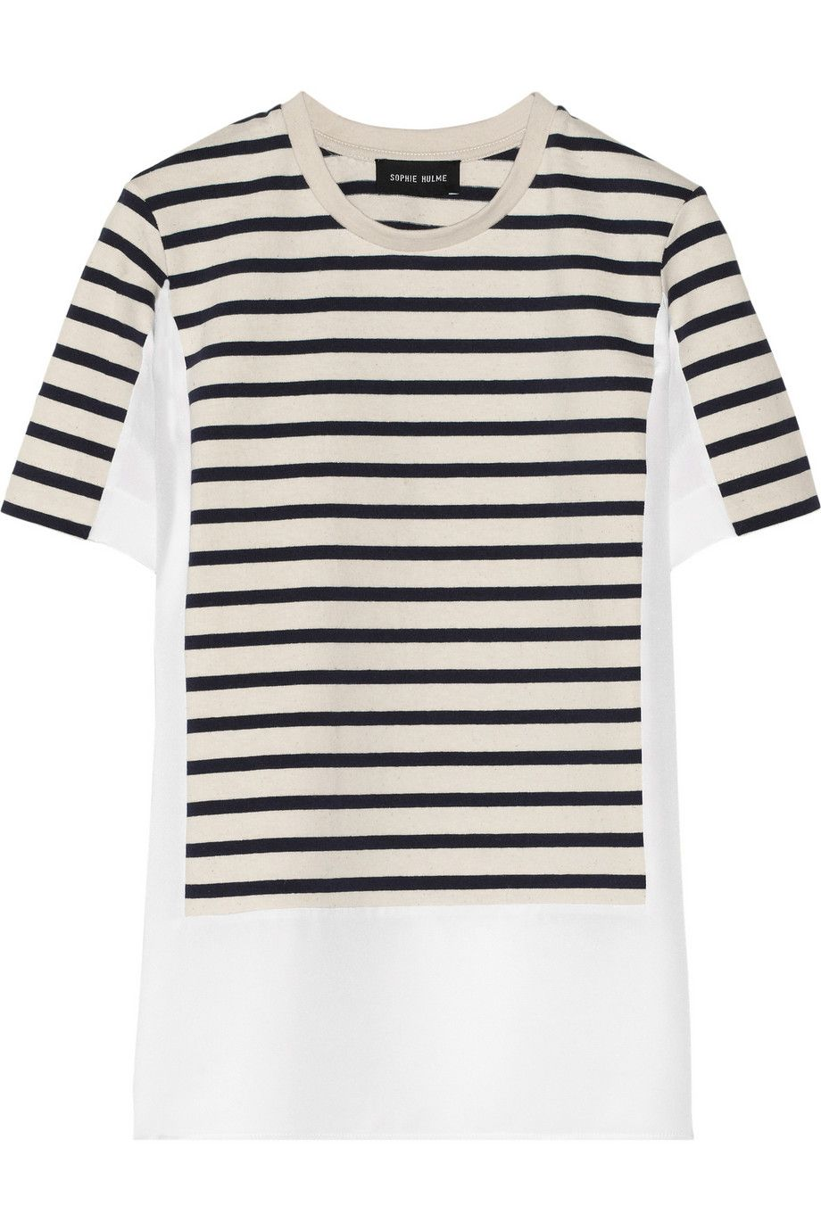 Sophie Hulme|Paneled striped jersey and crepe top|NET-A-PORTER.COM