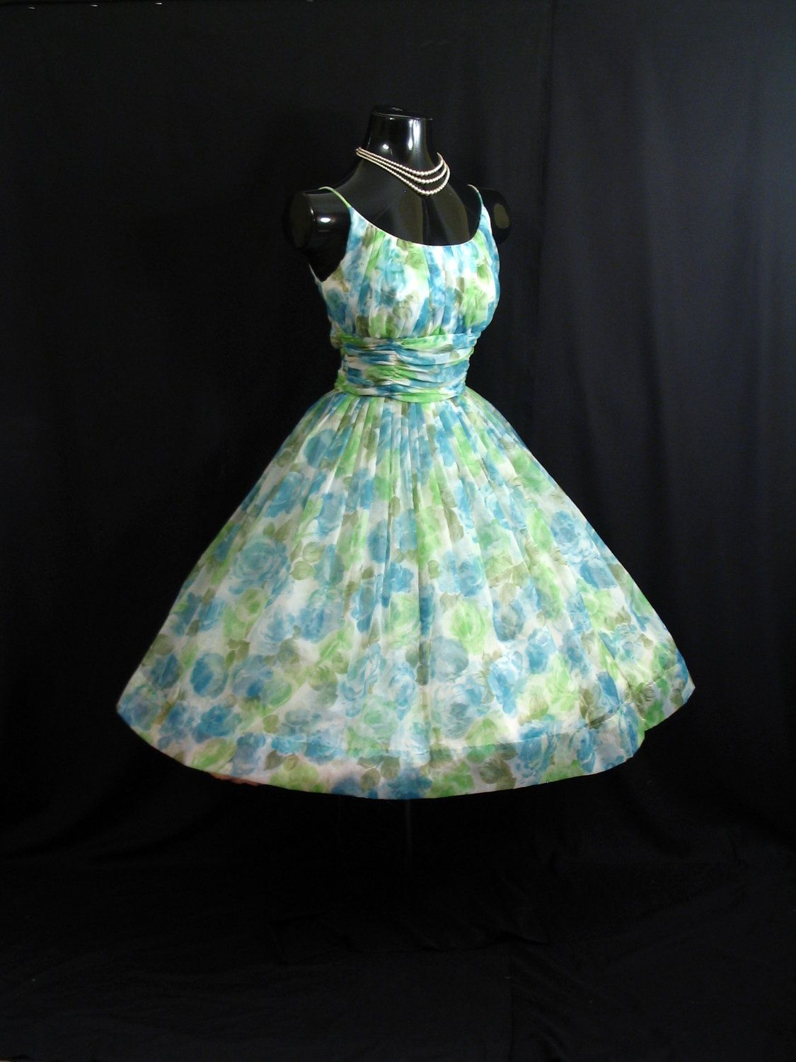 Vintage 1950's 50s Blue Green Ruched Floral Chiffon Organza Party Prom Wedding Dress Gown. $349.99, via Etsy. - SO Betty Draper!