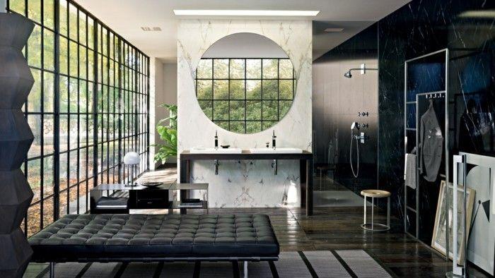 Badezimmer Modern Gestalten Dunkles Schickes Interieur