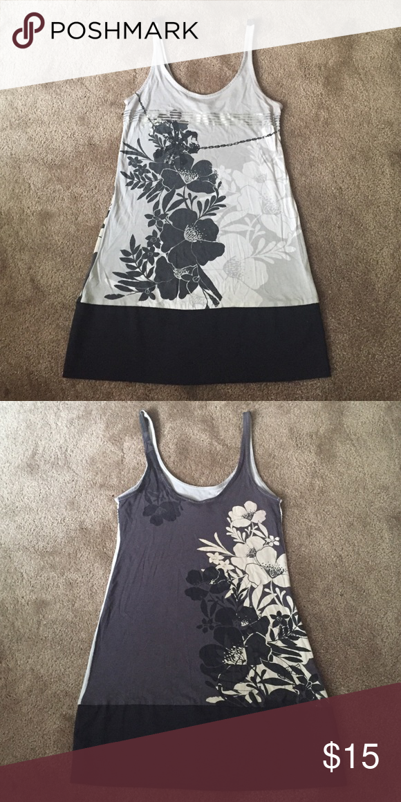 Tank Top Tunic Black & Silver Tank Top Tunic. Size XXS and will fit XS. Perfect condition. No Trades! Express Tops Tank Tops