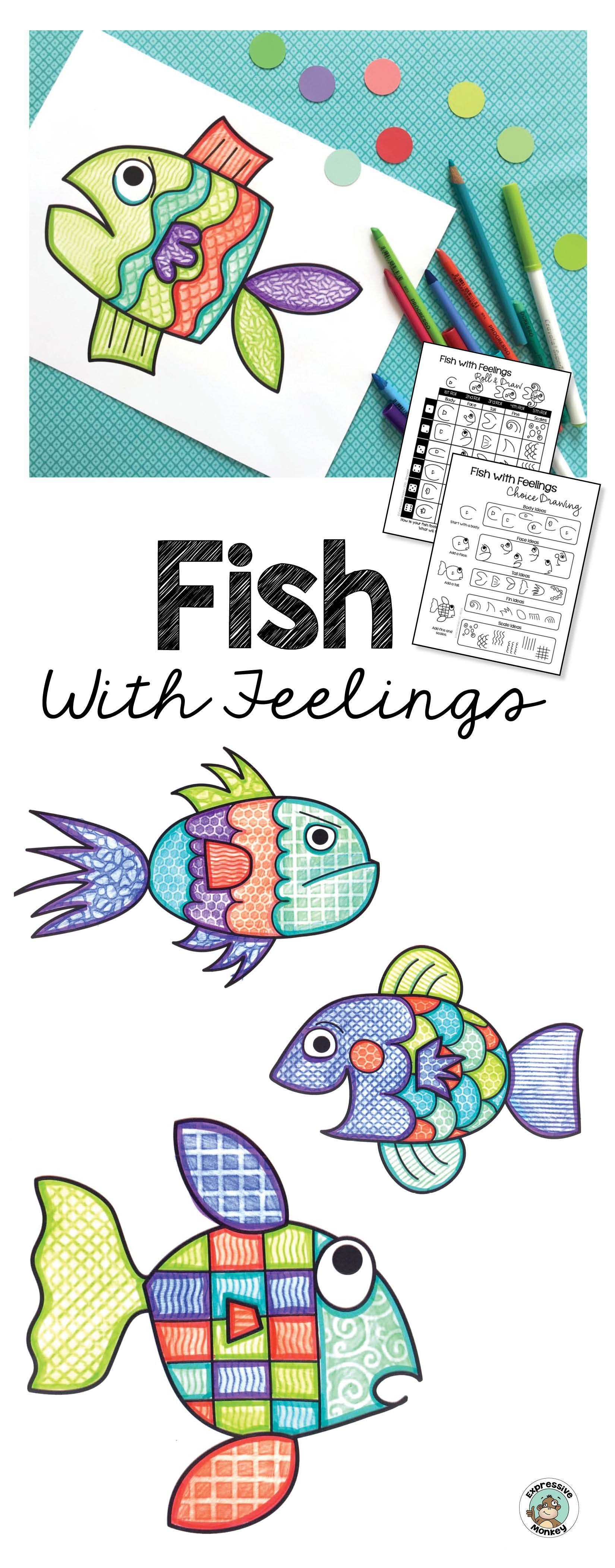 Fish with Feelings Drawing, Writing and Coloring Art