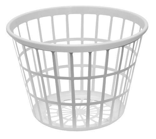 United Solutions Round Plastic Laundry Basket Small White By United Solutions 10 80 Plastic Laundry Basket Laundry Basket Laundry Room Organization Storage
