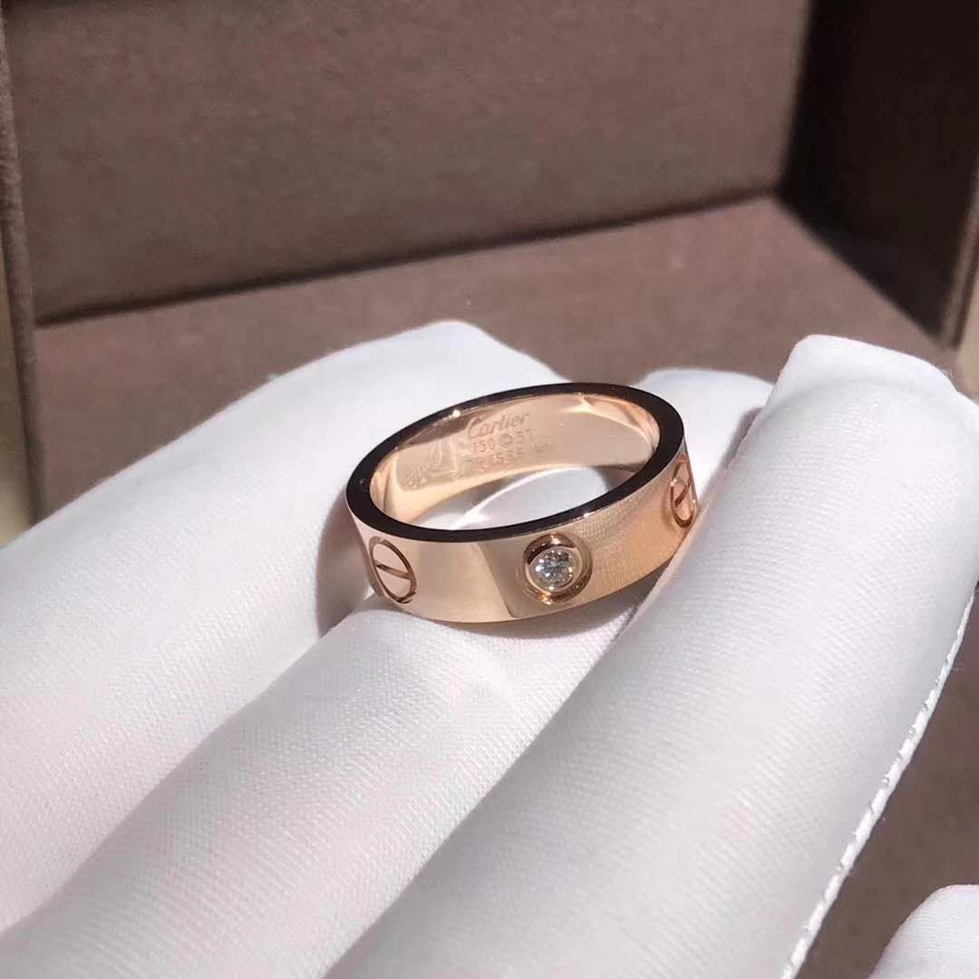 Inspired Cartier Love Wedding Band With One Diamond Pink Gold Cartier Wedding Rings Cartier Love Ring Cartier Ring