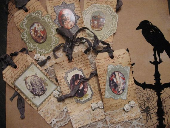 6 Spooky Goth 3D Hang Tags Tea Dyed Shabby by MoonspellCrafts, $9.00