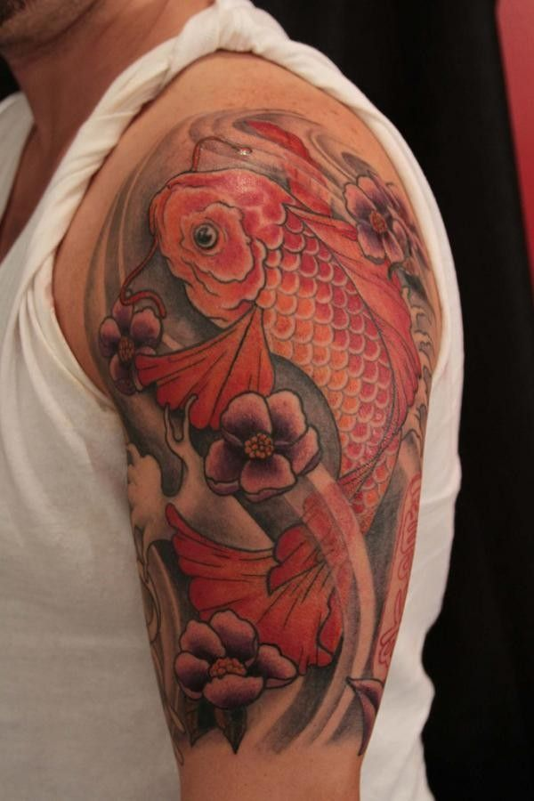 Red Koi Fish Tattoo On Half Sleeve Koi Fish Tattoo Coy Fish Tattoos Koi Tattoo