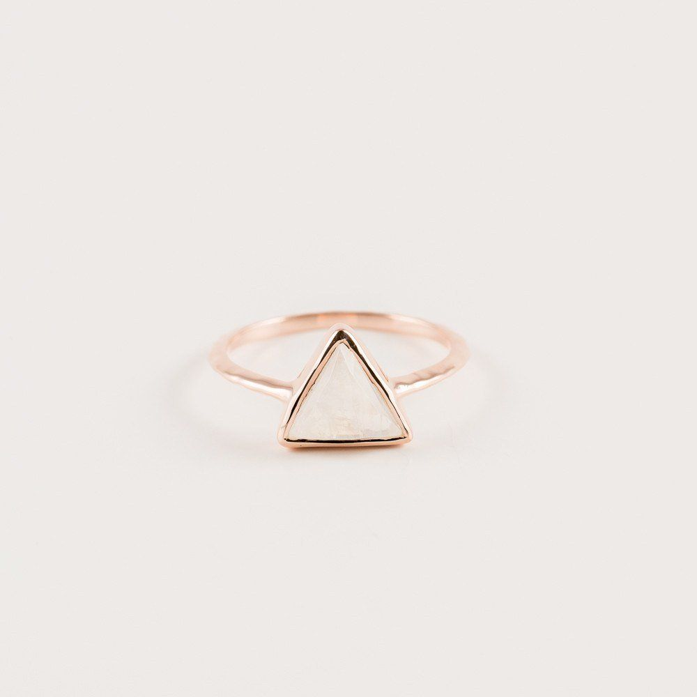 Moonstone Diamond Triangle Ring Moonstones Triangle and Rose