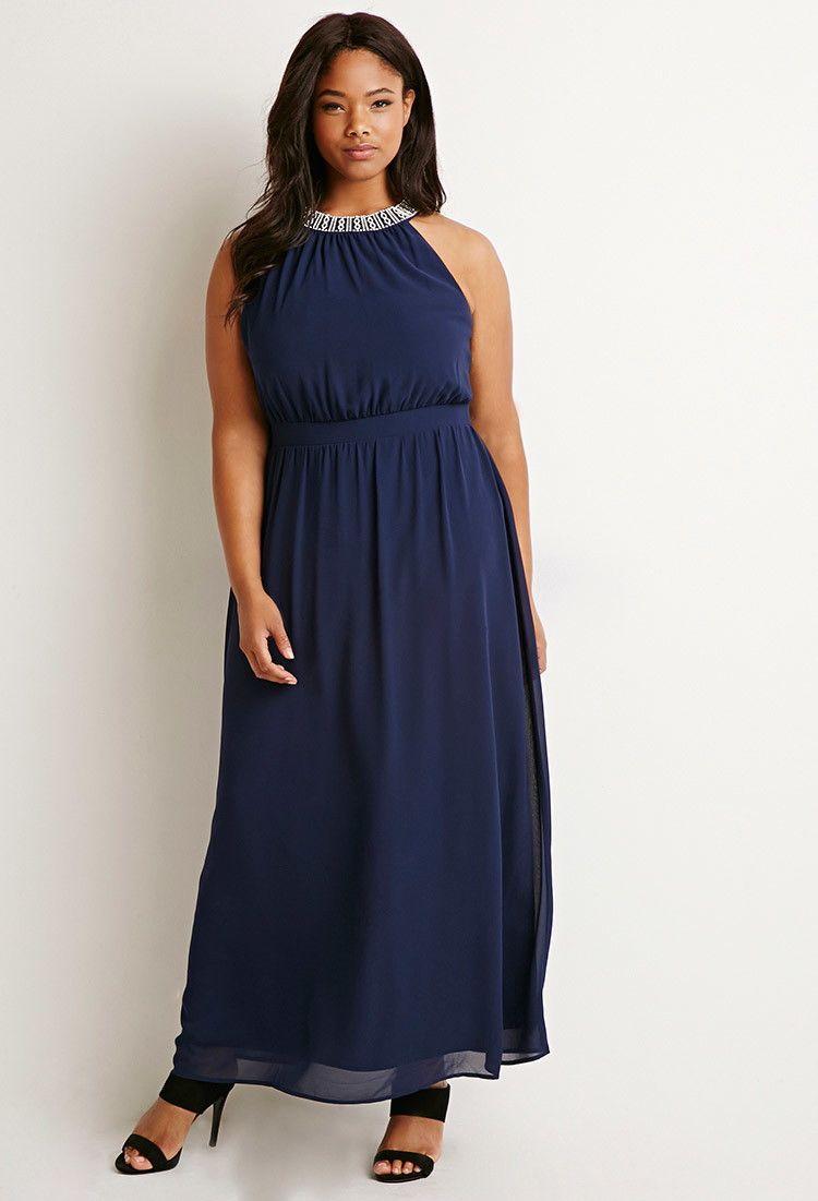 Plus size rhinestone embellished maxi dress forever plus