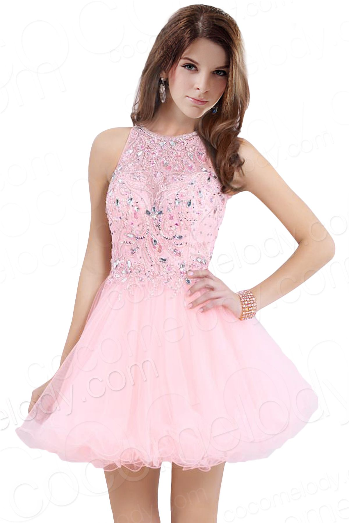Lovely A-Line Jewel Short-Mini Tulle Pink Open Back Sweet 16 Dress ...