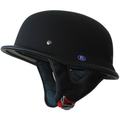 German motorcycle half helmet dot low profile matt black for Best helmet for motor scooter