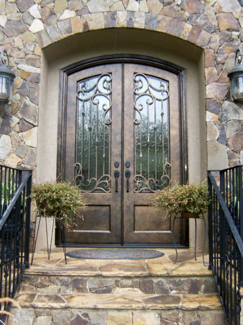 Iron front door double door front entries pinterest for Wrought iron front doors