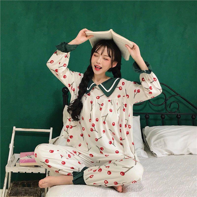 23b0df94e6 Pajamas Lolita Korean Sweet Cherry Printing Cute Sleepwear Suit Kawaii Girls
