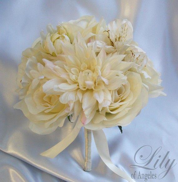 Idea 3 something borrowed pinterest cascade bouquet silk 17 piece package wedding bridal bride cascade bouquet maid of honor bridesmaid boutonniere silk flower ivory lily of angeles mightylinksfo