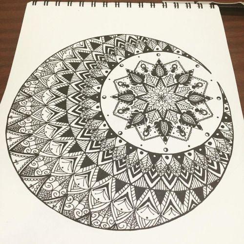 Done  #mandala #moonmandala #mandalaart #doodle #doodleart #design #drawing #mandalala #blackandwhite