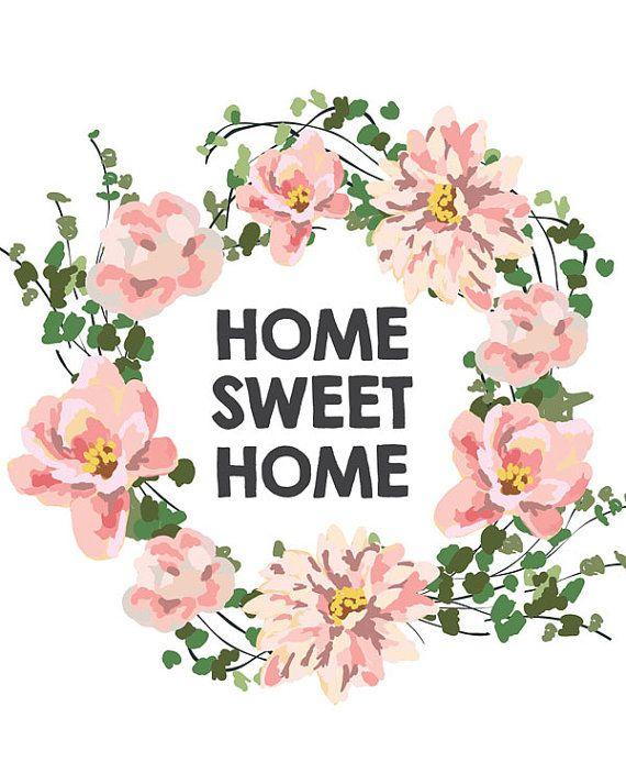 Home Sweet Home Quote Print Printable Art By Printablequirks Seni Dinding Buatan Sendiri Seni Dinding Gambar Hiasan