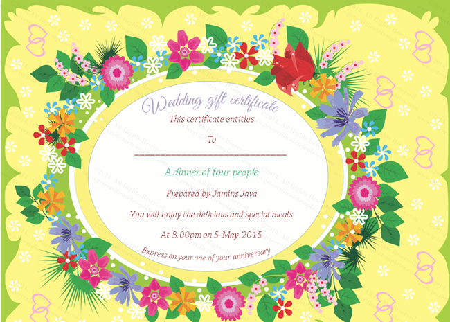 Beautiful Floral Wedding Gift Certificate Template – Wedding Gift Certificate Template