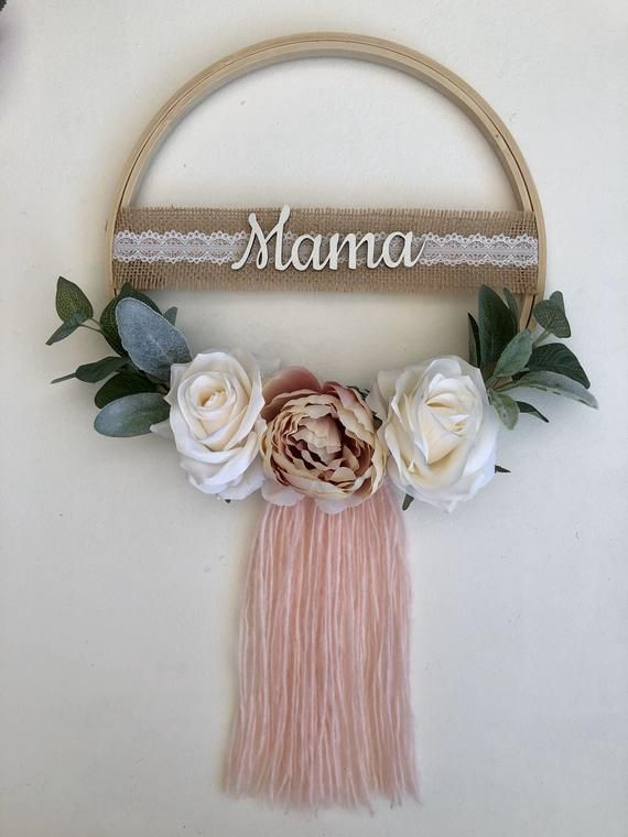 Photo of Floral wreath – artificial floral hoop wreath, nursery decor wall hanging