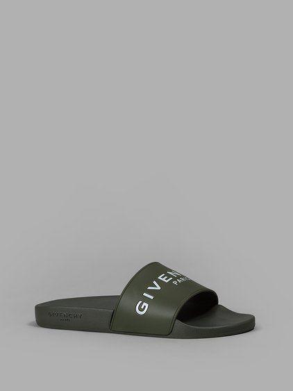 306b3dacebe6 GIVENCHY GIVENCHY MEN S GREEN LOGO SLIDES.  givenchy  shoes  sandals ...